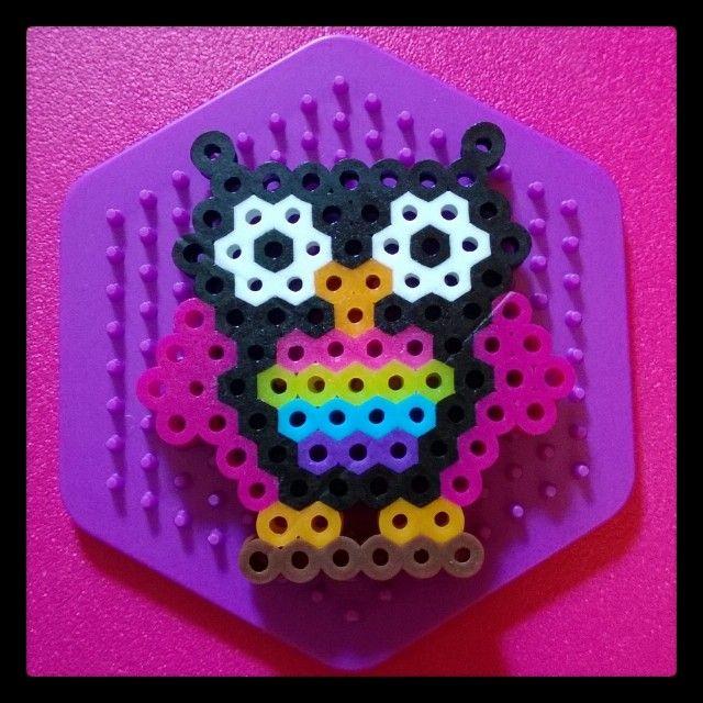 Rainbow owl perler beads