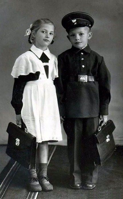 Russian school uniform, 1950s. #education