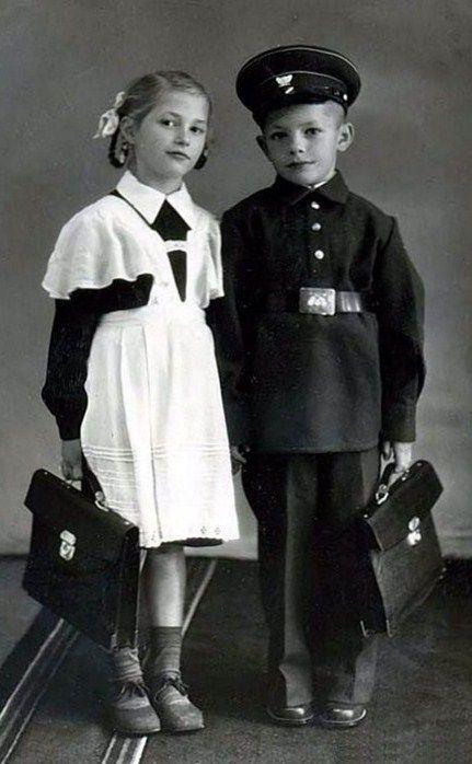 Russian school uniform, 1950s. #education