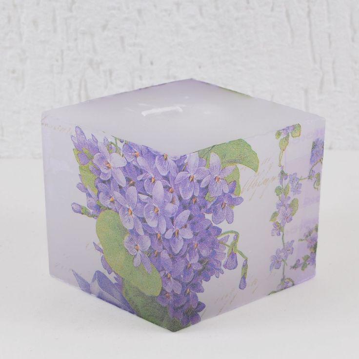 Vela Quadrada Branca Decoupage Floral Hortênsias Roxas BOUQUET