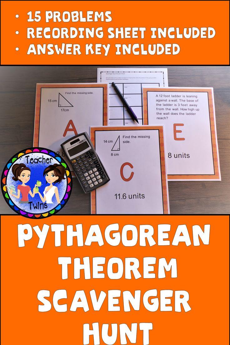 Pythagorean Theorem Scavenger Hunt Pythagorean theorem