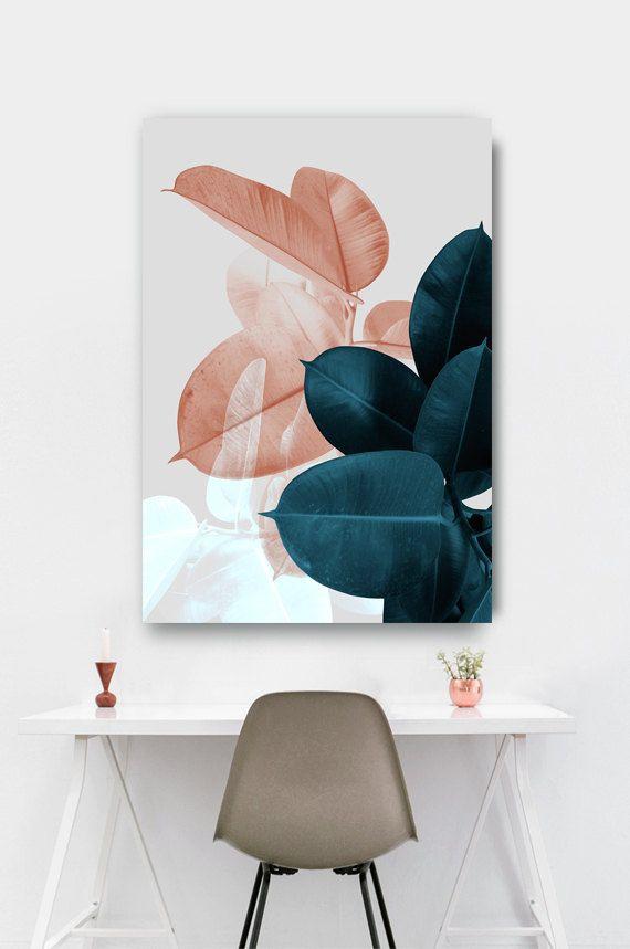 love the oversized art w/ the smaller-frame white desk + chair | #office home decor