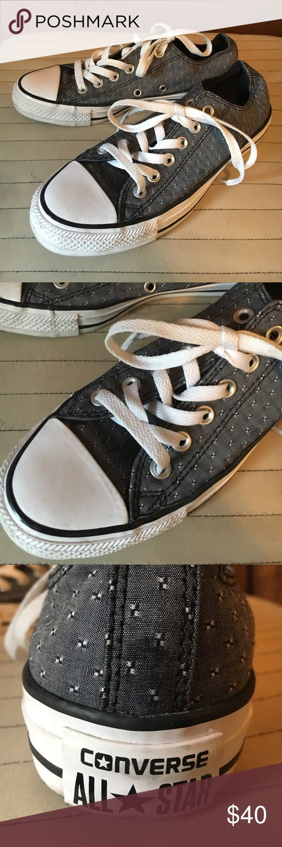 Grey & black converse! GREAT CONDITION! Size 7 Grey converse dotted with black checks. Cool pattern! Size 7. ONLY WORN ONE OR TWO TIMES! Cleaned & ready for sale! Please feel free to ask any questions! Converse Shoes Sneakers