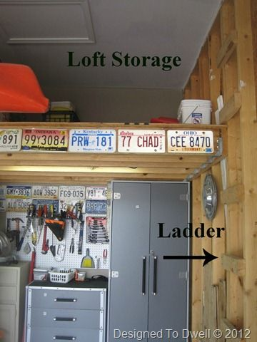 Loft like this should be perfect in garage in new house. But maybe with some kind of attic style pull-down ladder instead of the ladder on the side. Or a regular ladder/step system that's raised via a pulley system.