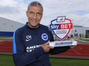 Brighton & Hove Albion boss Chris Hughton has fought off competition from Garry Monk to be named the Championship Manager  Source