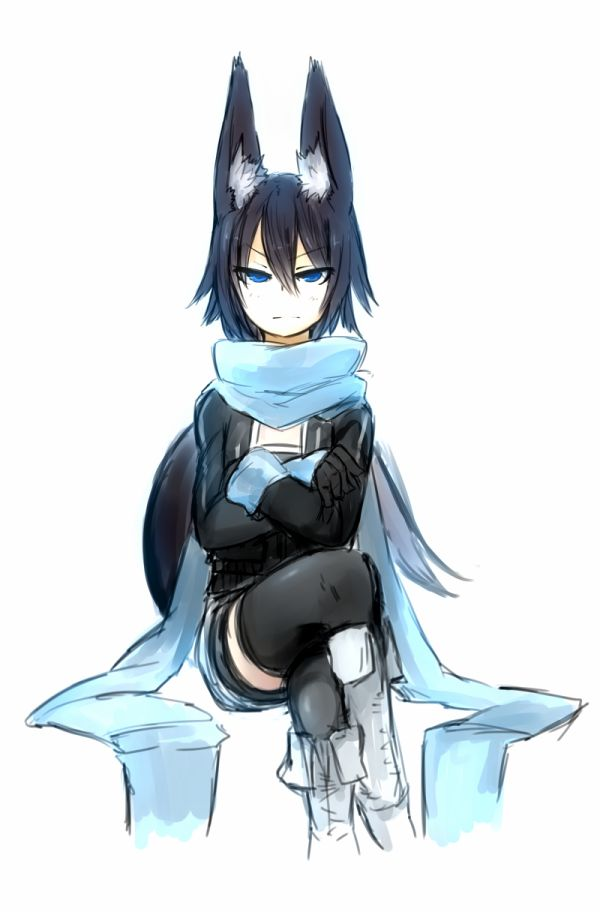Anime Girl With Black Hair And Wolf Ears And Tail