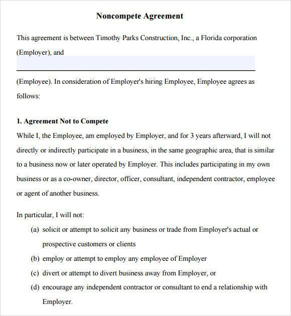 Non Compete Agreement Template Great Non Pete Agreement Template 12 Documents In Pdf Word Of Contract Template Business Template Templates Free Design