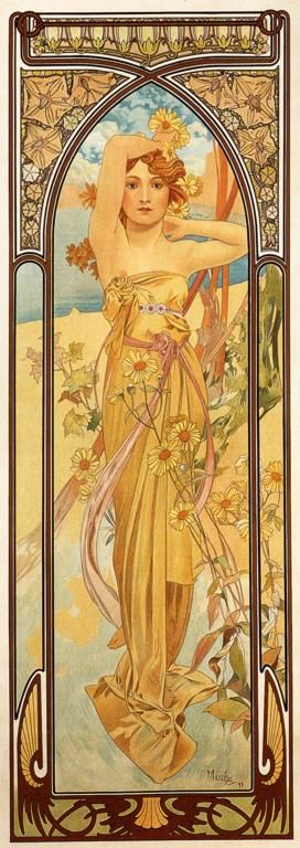 The Times Of Day, Brightness Of Day by Alphonse Mucha