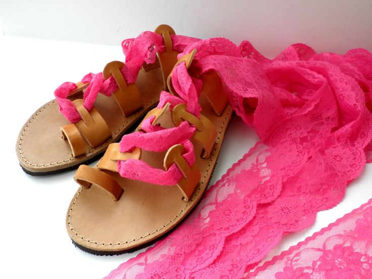 Greek leather lace up sandals, Pink sandals, Bridal shoes, Fuchsia lace up sandals, Wedding flats,Fuchsia lace sandals,Bridesmaids sandals by dadahandmade on Etsy