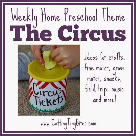 Circus theme unit- weekly home preschool.  Crafts,  gross motor, fine motor, music, snack, picture books, and more!