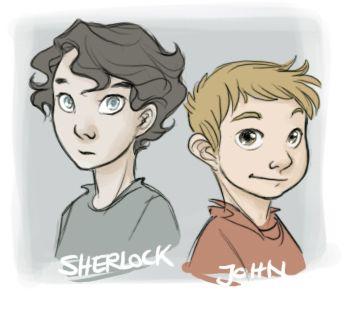 Young, Disneyish style Sherlock and John.
