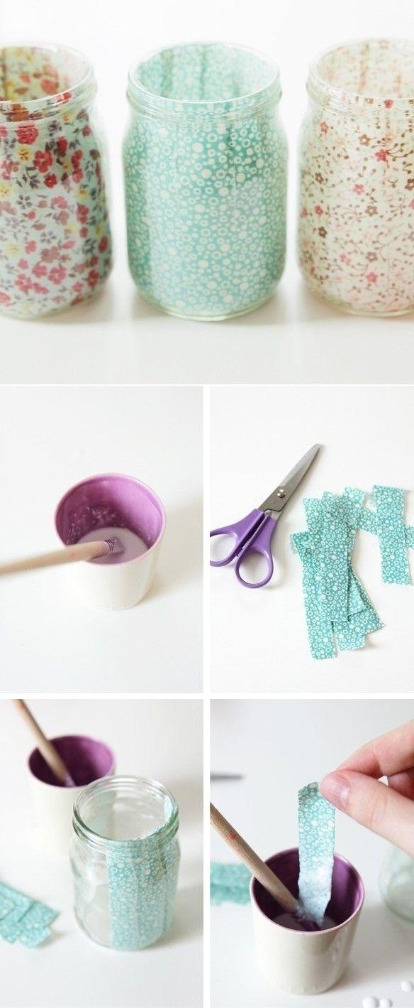 como decorar frascos de vidrio