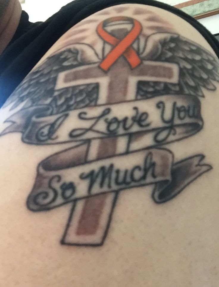 "Wings, cross and leukemia ribbon, ""I love you so much"""