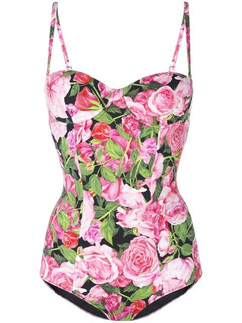 Shop Dolce & Gabbana rose print swimsuit.