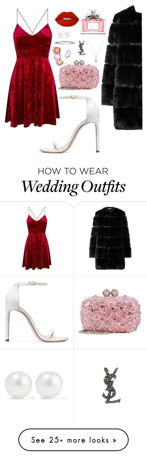 """Red"" by melissa-gonzaleza on Polyvore featuring Stuart Weitzman, Givenchy, Alexander McQueen, Lime Crime, Christian Dior, Kenneth Jay Lane, Garrard and Yves Saint Laurent"