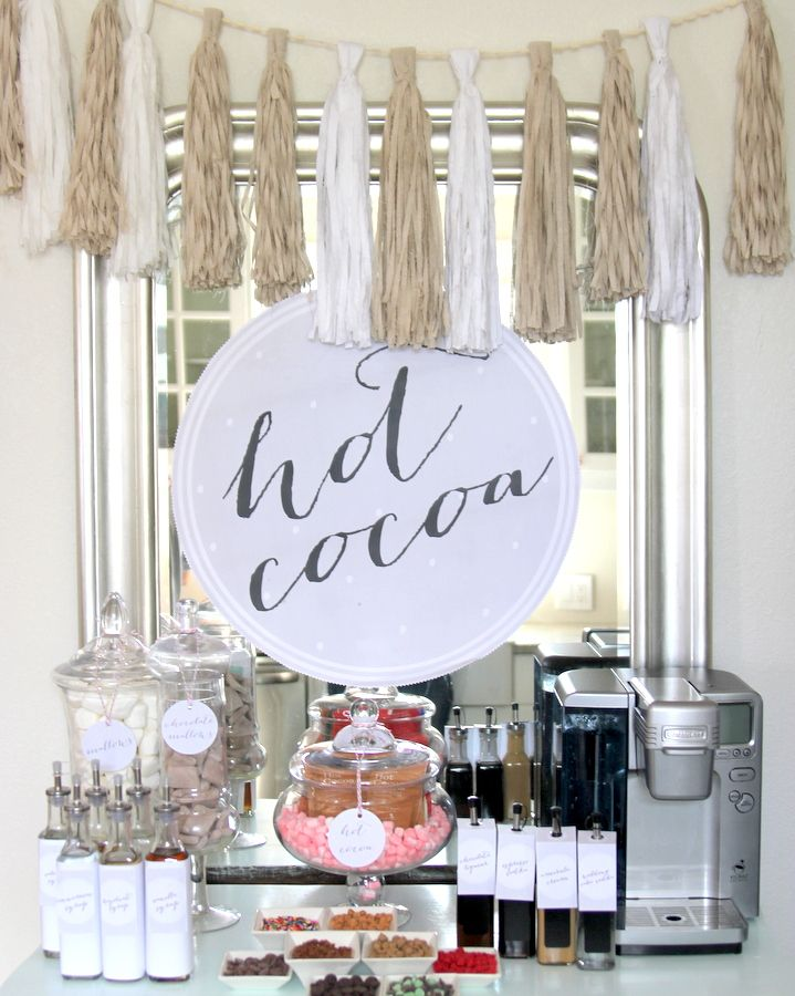 DIY cozy hot chocolate bar, perfect for the holidays and those upcoming cold winter nights!