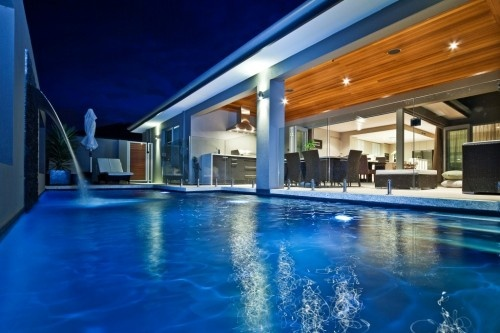 Alfresco and pool with water feature.