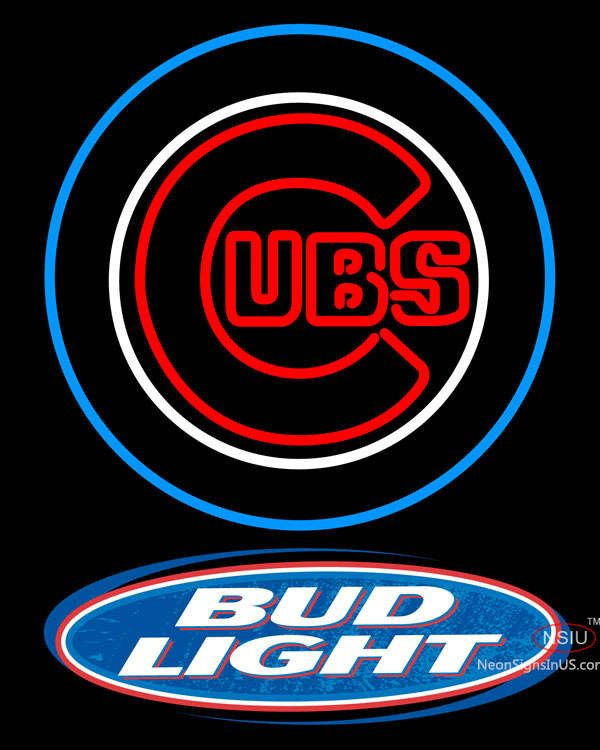 Bud Light Logo Chicago Cubs MLB Real Neon Glass Tube Neon Sign,Affordable and durable,Made in USA,if you want to get it ,please click the visit button or go to my website,you can get everything neon from us. based in CA USA, free shipping and 1 year warranty , 24/7 service