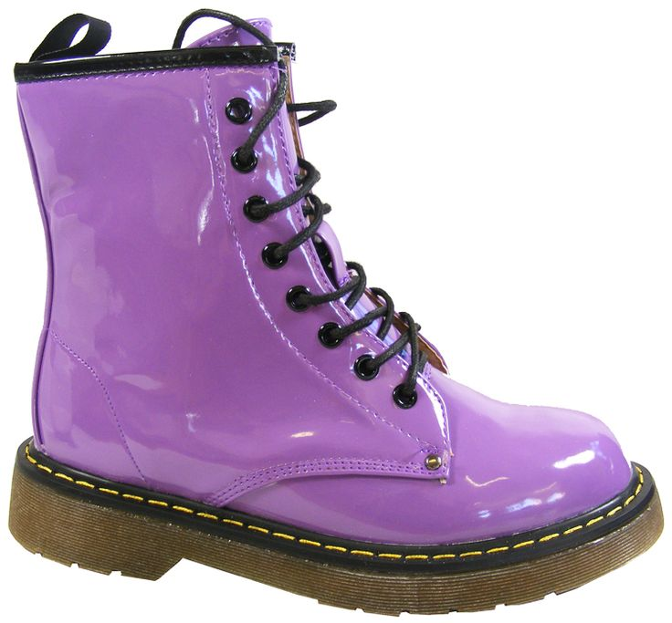 Purple Combat Boots   NEW Womens Purple Lace Up Retro Punk Goth Combat Military Ankle Boots ...
