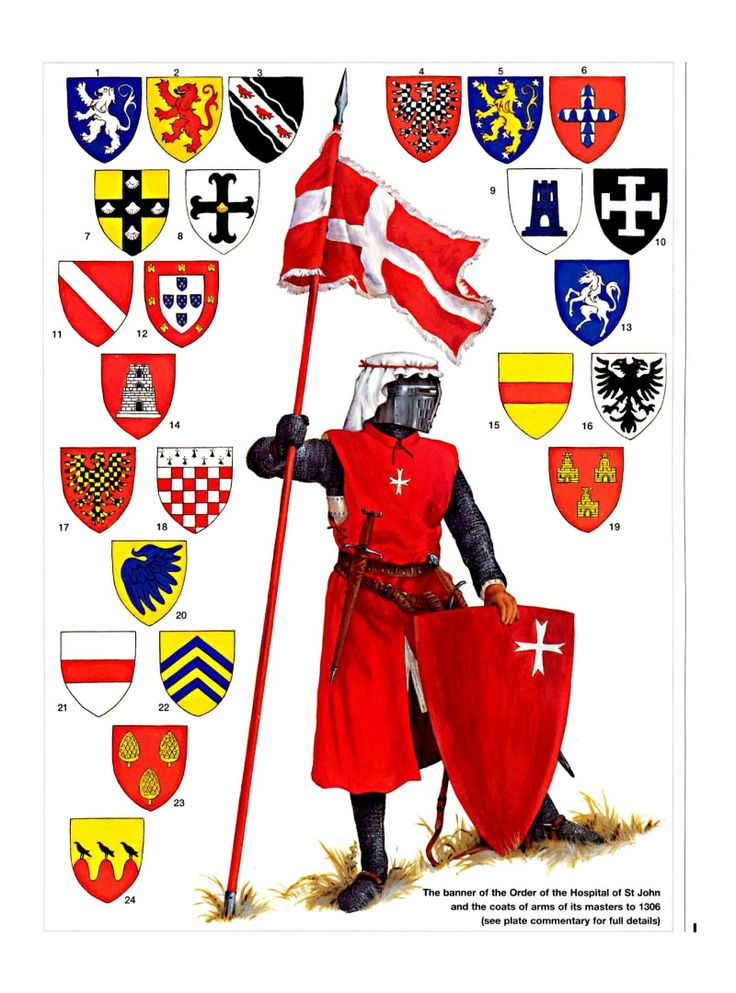 Caballero Hospitalario y escudo de armas de los Gran Maestre hasta 1306. Más en www.elgrancapitan.org/foro