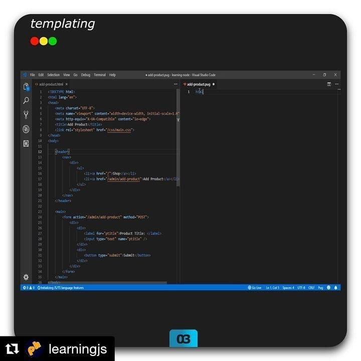 Repost @learningjs ・・・ DAY 3 - templating: to generate