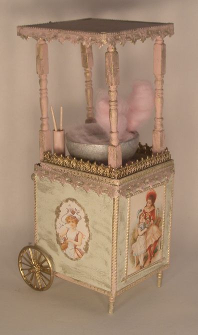 Cotton Candy Cart by Gilles Roche - $268.00 : Swan House Miniatures, Artisan Miniatures for Dollhouses and Roomboxes