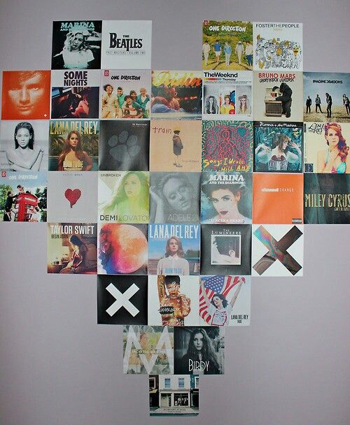 Music. CD covers in a heart shape. This would look cool with quotes too or ig/tumblr pics♡