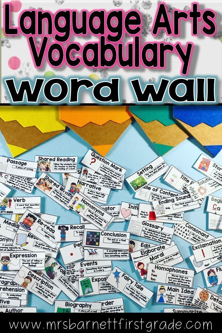 Create a Language Arts Vocabulary Wall in your classroom! 97 WORD CARDS INCLUDED! The vocabulary words that I have included in this pack have been thoroughly researched.