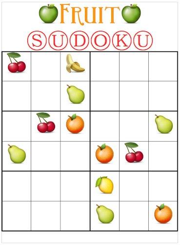 Printable Fruit Sudoku For Kids
