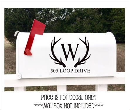 Antler Mailbox Decals Set of Two Vinyl Decals Rustic Country Mailbox Vinyl Decals Personalized Monogram Home Decor Curb Appeal Kick up the curb appeal with our antler monogram mailbox set! This listing includes TWO decals (one for both sides of your mailbox) cut from the highest