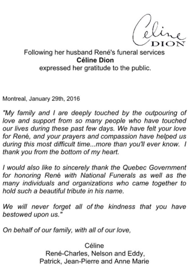 Céline Dion thanks fans for support in time of grief:  A week after René Angélil's funeral, singer says fans' best wishes helped 'more than you'll ever know'  (CBC News 29 January 2016)