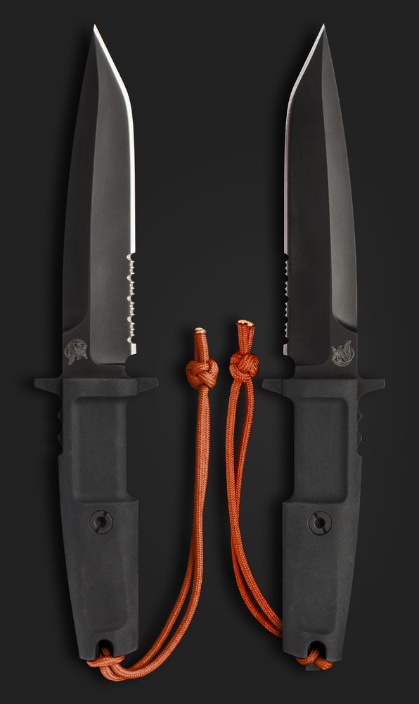 Extrema Ratio Knives 125 Part Serrated Col Moschin Tactical Fixed Blade Knife with Black Forprene Handles