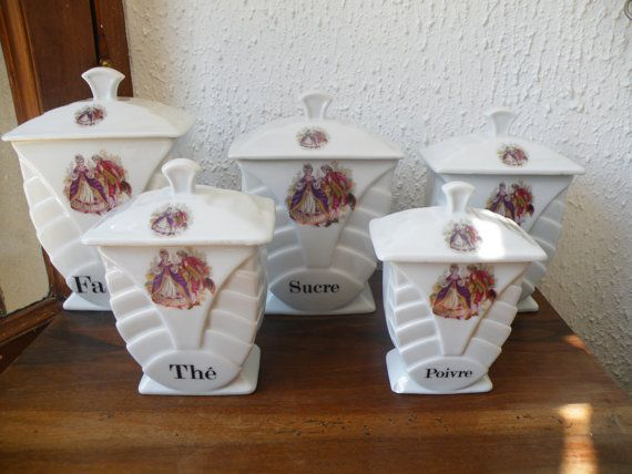 Fantastic Set Of 5 Vintage French Art Deco Storage Jars By FD Chauvigny  French Porcelain