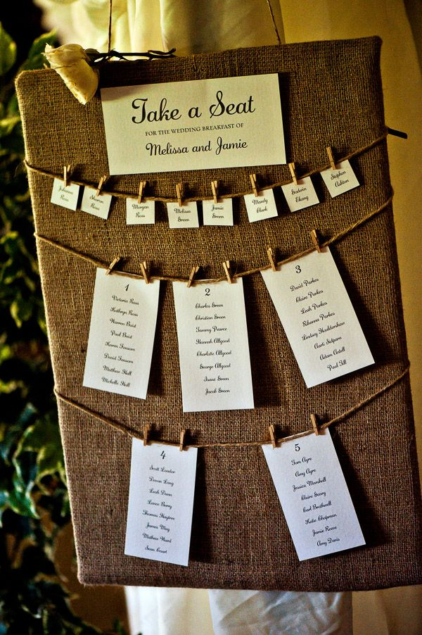 Burlap Table plan. Rustic English wedding blog photography Shaun Taylor. www.shauntaylorphotography.co.uk Green wedding. Spring Wedding. Eco wedding. DIY wedding