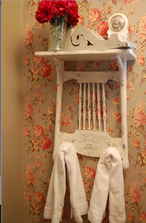 She took an old, broken chair and nailed it to the wall. The result is simply adorable!