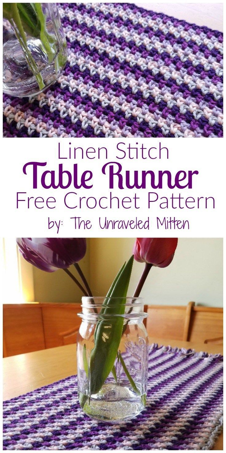 Linen Stitch Table Runner: Free Crochet Pattern by The Unraveled Mitten. There are ZERO ends to weave in on this lovely table centerpiece. Whatever you call this stitch: moss, linen, seed, woven, granite, add some farmhouse style to your kitchen today.