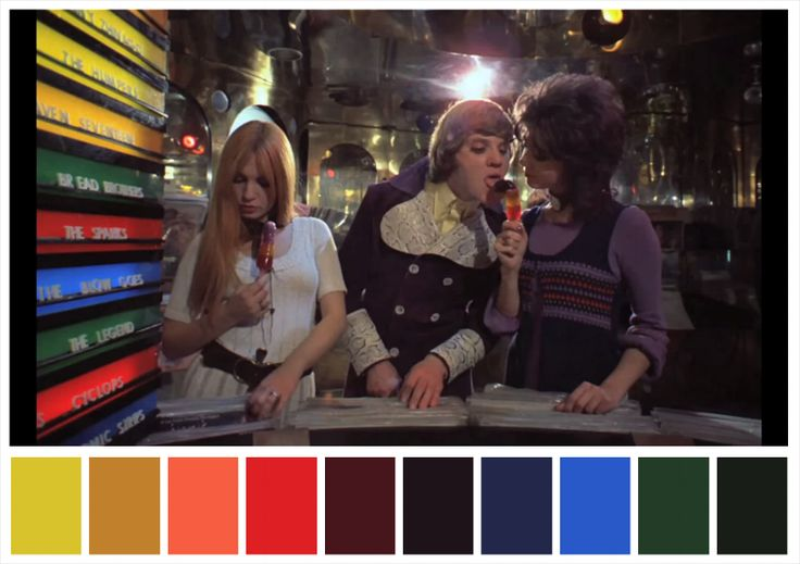 Color palette of Stanley Kubrick's movie Clockwork Orange. #stanleykubrick #clockworkorange #colorpalettes