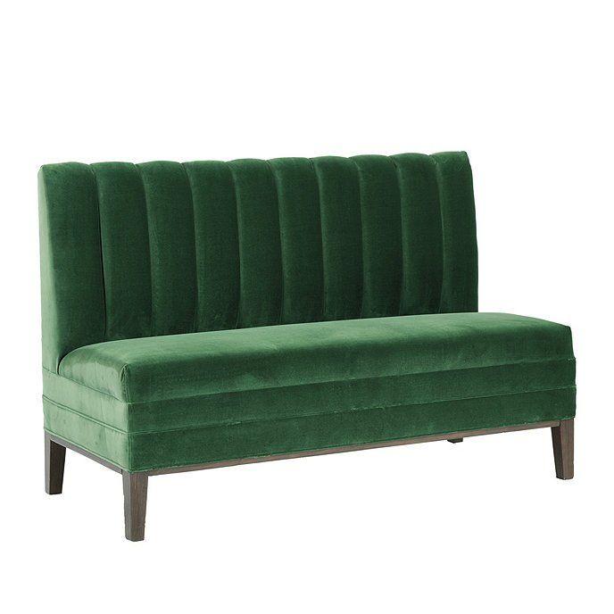 Diedra 60 Bench In Signature Velvet Emerald Stocked Ballard Designs Banquette Seating Banquette Banquette Seating In Kitchen