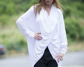 White Asymmetrical Plus Size Top, Extra Long Sleeve Cotton Blouse, Loose Tunic Top, Ladies Maxi Dress, Women Sexy Hot Evening Dress