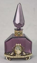 Austrian Art Deco Enameled Perfume Bottle w/ Portrait