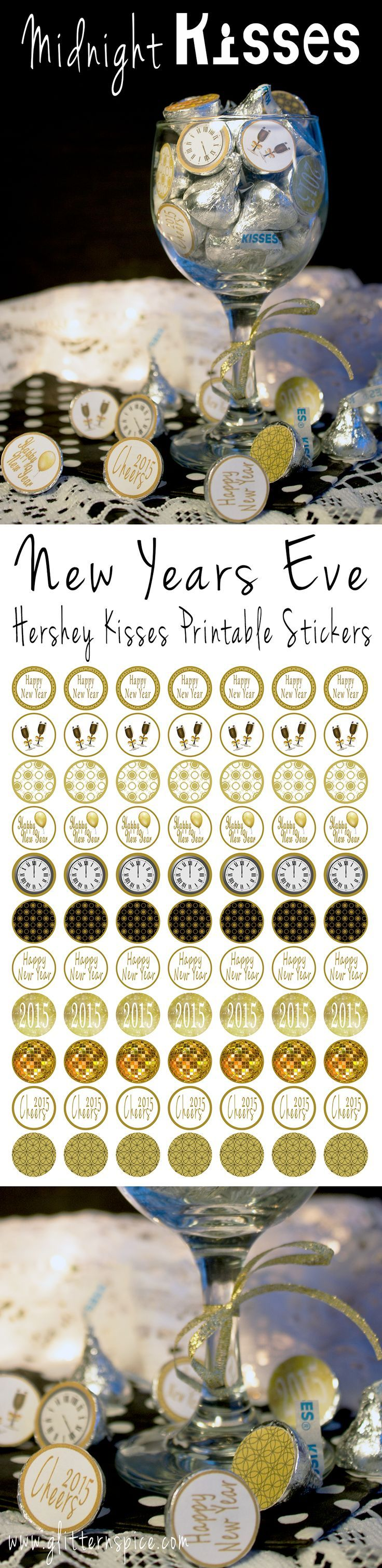 FREE printable New Year's Eve Hershey Kisses labels!