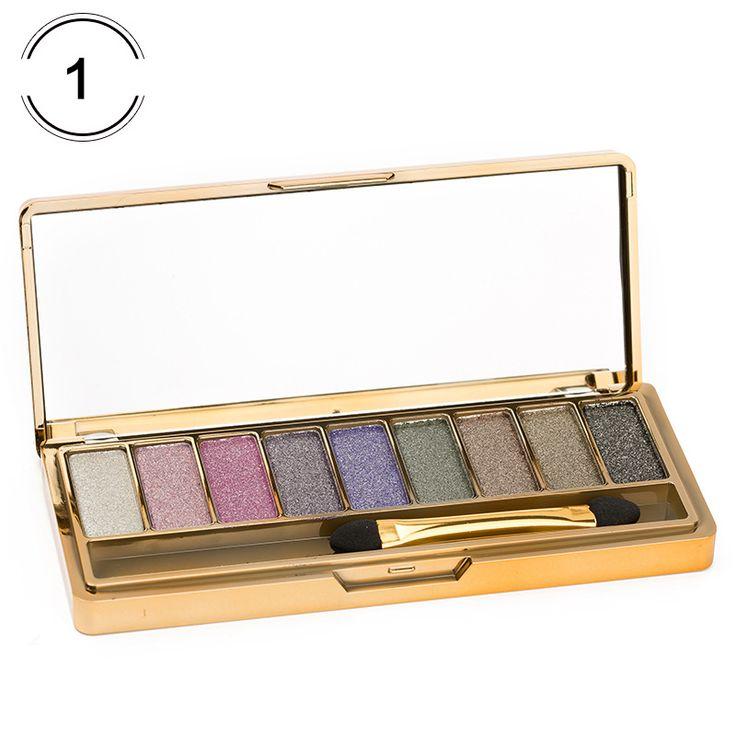 Urara 9 kleuren oogschaduw make up palett diamant heldere shining kleurrijke Make Oogschaduw Flash Glitter Make Up Set Met borstel