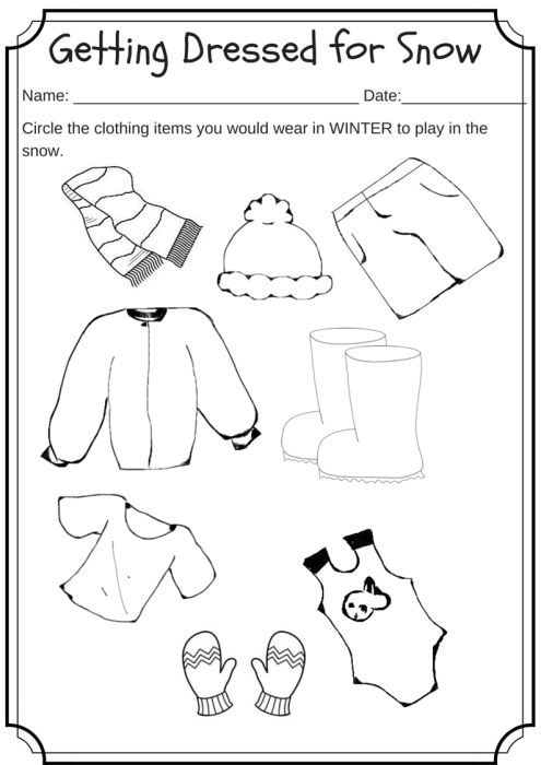 Winter Weather Wear Preschool Worksheet – What would you wear on a cold day?