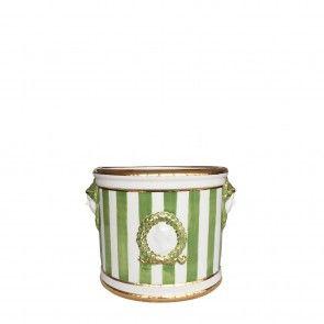 Cachepot in ceramica a righe verdi e profili oro Este Ceramiche