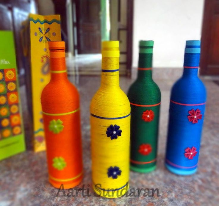 Wine bottles turned into Colourful home decors by Aarti Sundaran