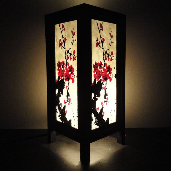 Beautiful Asian Oriental Japanese Sakura Cherry Blossom Tree Branch Art Bedside Table  Lamp $16.97