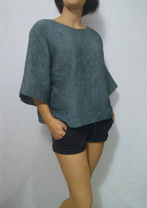 Womens linen tshirts green linen top Round Neck loose T-shirt