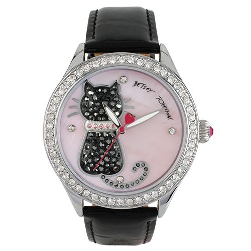Ladies Betsey Johnson Pave Cat Watch-BJ00517-06