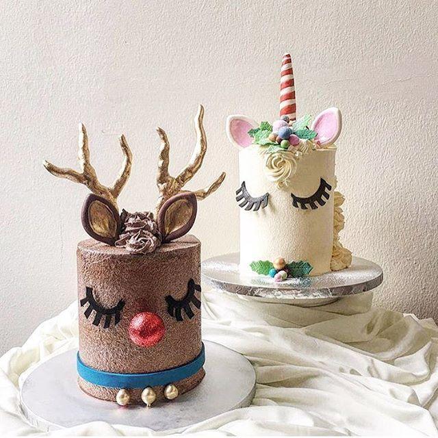 The CUTEST Rudolph and unicorn cakes by @kekandco ! #sweet #sweets #sweettreats #unicorncake #cookies #cookieart #customcookies #dessert #edibleart #sugar #sugarart #christmascake #unicorn #cakeart #cakes #elegant #pretty #beautiful #yum #instayum #foodie #cake #holidays #royalicing #merrychristmas #christmastree #christmas #winter #christmascookies #snack
