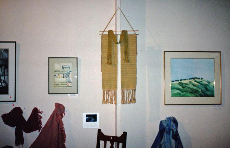 1980s Hand spun and woven wall hanging n an art gallery in Porirua.